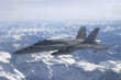 "Swiss Air Force F/A-18C ""Hornet"" jet aircraft over Swiss alps"