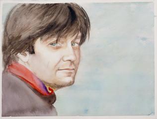 watercolor man's portrait