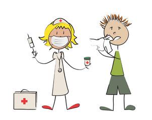 infirmière enfant grippe masque