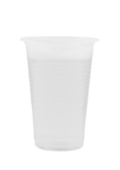 Clear water in a plastic cup isolated