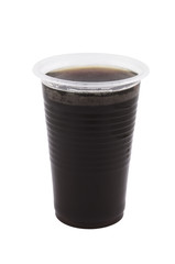 Plastic cup with coffee isolated on white