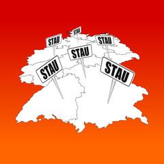 deutschland karte mit stau-schildern