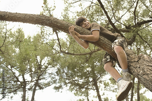 Boy relaxing on tree branch