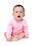 displeased baby girl sitting poster