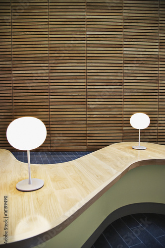 Modern table in office lobby