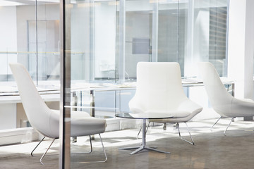 Chairs in modern office lobby