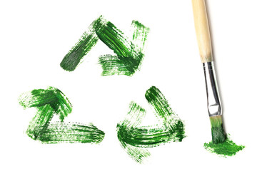Painted recycle symbol