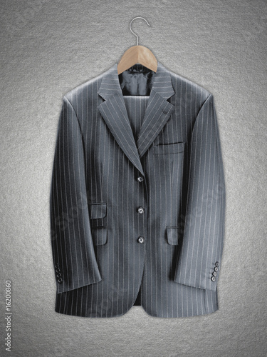 Business suit on coat hanger