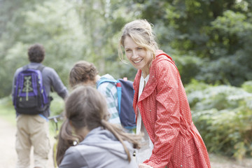 Family enjoying walk in the woods