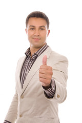 an young business man going thumb up