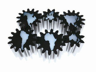 Cogs shaped like continents