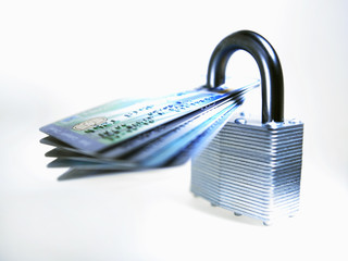 Credit cards locked with padlock