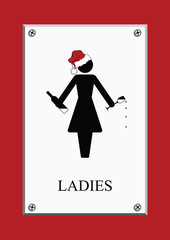 Festive Christmas Ladies Restroom Sign
