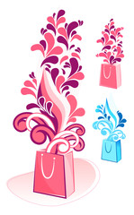 decorative gift bag vector
