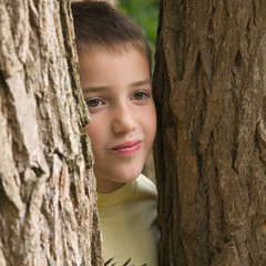 cute little caucasian boy playing hide-and-seek between tree tru