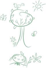 Niedliches Cartoon-Clipart-Set: Mädchen im Garten