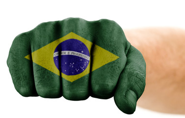 fist with brazilian flag