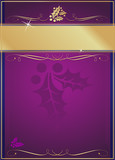 Exotic Holly & Flourish Adorned Purple Christmas Card or Tag poster