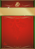Exotic Holly & Flourish Adorned Red Christmas Card or Tag poster