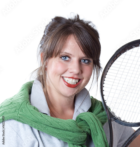 Young active woman with a tennis racquet; close-up portrait