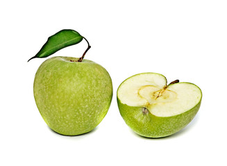 Green apple and section isolated on white background