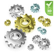 Vector gears 3D icon set