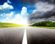 Quadro road black clouds and sun