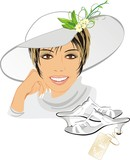 Portrait of beautiful woman with hat and shoes. Vector