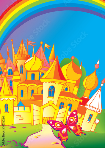 Papiers peints Chateau Beautiful palace with a butterfly and rainbow. Fairy-tale.
