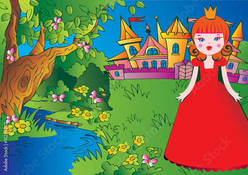 Foto op Aluminium Kasteel Beautiful princess on the meadow in a red dress. Fairy-tale.