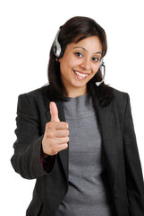 Customer support giving thumbs up