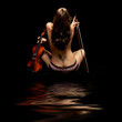 violinist isolated on black background