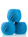 Three hanks of the blue threads isolated on white background poster