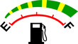 Fuel meter gauge icon or symbol showing empty to full levels