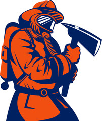 Fireman or firefighter carrying an ax