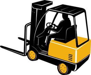 Forklift truck and operator viewed from a high angle