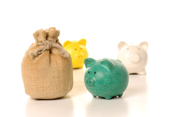 money bag and piggy bank