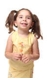 Happy smiling preschool girl in pigtails poster