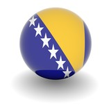 High resolution ball with flag of Bosnia and Herzegovina poster