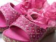 chaussures roses à rubans