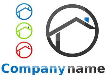 Logo maison formes rond gris bleu vert rouge