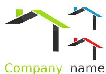 Logo maison formes gris vert bleu rouge
