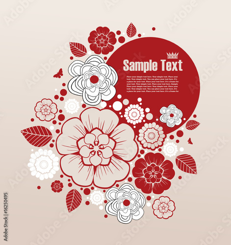 grunge frame for text with floral elements