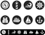 white marine icons poster