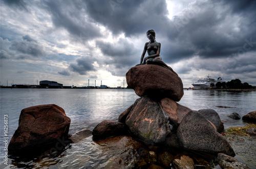 Statue of The Little Mermaid in Copenhagen Poster