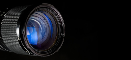 Photography lens over black