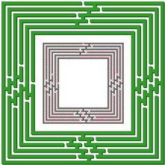"""Labyrinth as 3D frame """"Top to Left"""" with solution"""