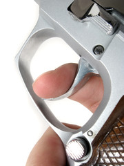 Close up of a finger on a trigger
