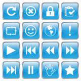 Web buttons (Miscellaneous V) (vector; blue) (x16) poster