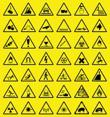 Hazard warning sign collection all signs individually layered